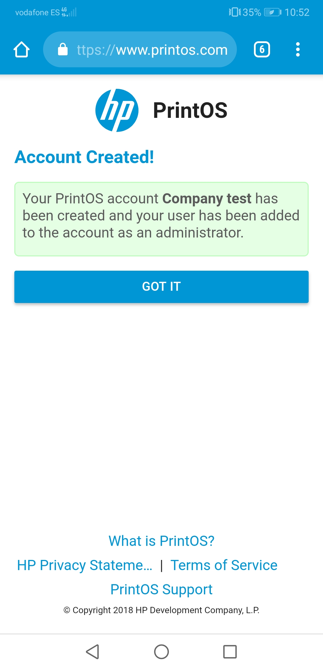 HP Latex PrintOS sign up account